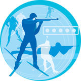 Competition. Biathlonists competing for an award. a vector Stock Photo