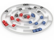 Competition. Marbles aim to get in a center. 3D rendering stock illustration