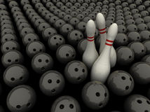 Competition. 3 bowling pins surrounded by bowling balls Stock Images