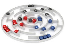 Competition. Marbles aim to get in a center. 3D rendering vector illustration