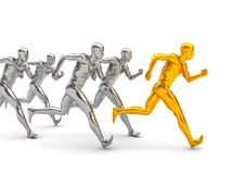 Competition. 3d illustration of running men over white background Stock Images