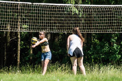 Competition for Amateur volleyball in the Kaluga region in Russia. Volleyball is very popular among young people and students. For this reason, Russia is often stock image