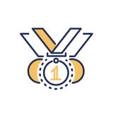 Competition award - modern vector line design icon. Competitions award - modern vector single line design icon. An image of three medals on white background Royalty Free Stock Photos