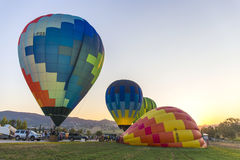 Competition of balloons in Italy. GUALDO CATTANEO, ITALY - JULY 31, 2016: Sagrantino International Challenge Cup. Preparation of balloons for the competition Stock Photo
