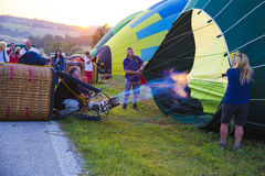 Competition of balloons in Italy. GUALDO CATTANEO, ITALY - JULY 31, 2016: Sagrantino International Challenge Cup. Preparation of balloons for the competition Stock Images