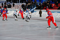Competition for bandy. Russian Premier League match ball hockey:  Lokomotiv  Orenburg  Universal  Saratov Stock Images