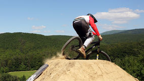 Competition Bike ride in slopestyle Royalty Free Stock Image