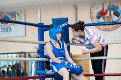 Competition Boxing between girls Royalty Free Stock Photo