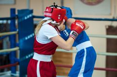 Competition Boxing between girls. Royalty Free Stock Photos