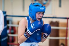Competition Boxing between girls. Royalty Free Stock Photography