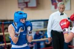 Competition Boxing between girls. Royalty Free Stock Image