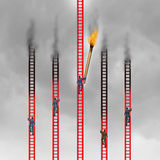 Competition In Business. Concept as a group of business people climbing red ladders competing for the top but one aggressive person as a game changer uses a Royalty Free Stock Image
