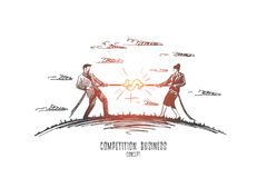 Competition business concept. Hand drawn isolated vector. Competition business concept. Hand drawn two persons man and woman playing tug of war. Competition stock illustration