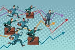 Competition in the business world. Pop art retro vector illustration. businessmen running forward Royalty Free Illustration