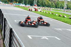 Competition for children karting Royalty Free Stock Image