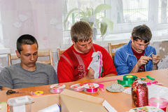Competition for children on making homemade crafts in the education centre in the Gomel region of Belarus. In the educational centers of Belarus, which trained stock image