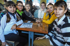 Competition for children on making homemade crafts in the education centre in the Gomel region of Belarus. In the educational centers of Belarus, which trained royalty free stock photography