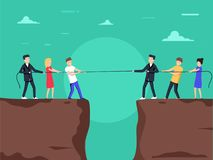 Competition concept. Business people. Businessmen in suit pull the rope at edge of cliff, symbol of rivalry. Competition concept. Business people. Businessmen royalty free illustration