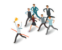 Competition concept. Businessman and group of business people running to the goal. Info graph vector illustration Royalty Free Stock Photography