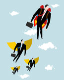 Competition concept. Businessman jet pack is ahead of managers w. Ith wings Royalty Free Stock Photography