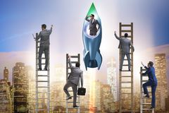 Competition concept with businessman on rocket royalty free stock image