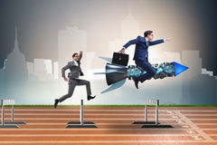 The competition concept with businessman and rocket Royalty Free Stock Image