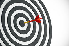 Competition concept. Close up of success dart board target with arrows on white background. Competition concept. 3D Rendering Stock Image