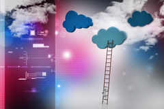 Competition concept, clouds with ladders Royalty Free Stock Photography