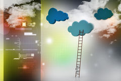 A competition concept, clouds with ladders Royalty Free Stock Image