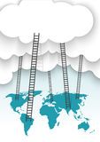 A competition concept, clouds. With ladders and world map Royalty Free Stock Photos