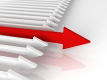 Competition concept. Leading red arrow. Of white arrows group Stock Image