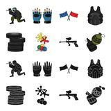 Competition, contest, equipment, tires .Paintball set collection icons in black,cartoon style vector symbol stock. Illustration Stock Photography