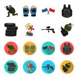 Competition, contest, equipment, tires .Paintball set collection icons in cartoon,flat style vector symbol stock. Illustration Royalty Free Stock Images