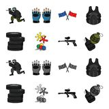 Competition, contest, equipment, tires .Paintball set collection icons in cartoon,monochrome style vector symbol stock. Illustration Stock Image