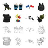 Competition, contest, equipment, tires .Paintball set collection icons in cartoon,outline style vector symbol stock. Illustration Royalty Free Stock Photography