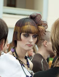Competition of creative  hairdresses and make-up Stock Image