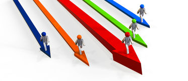 Competition. 3D render image of arrows and running figurines with different colors representing competition Stock Photography