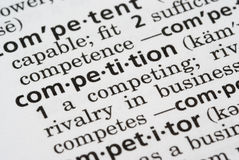 Competition Defined. Close up of the word competition in the dictionary Stock Photography