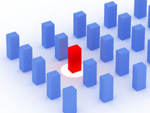 Competition design. A 3d blue cube with one in red color Royalty Free Illustration