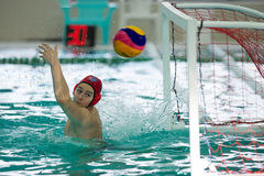 Competition and duel water polo players match Stock Photography