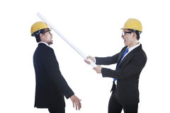Competition between engineers Stock Images