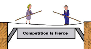 Competition Is Fierce. Business illustration showing two businesspeople facing each other while walking on a tightrope, 'competition is fierce Royalty Free Stock Photo