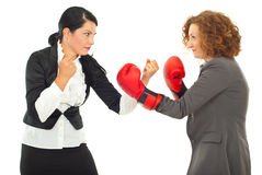 Competition fight business women. Competition  fight two business women ,one of them wearing boxing gloves isolated on white background Stock Photography