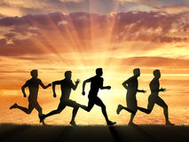 Competition of five runners athletes Royalty Free Stock Photos
