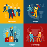 Competition flat icons set Royalty Free Stock Photography