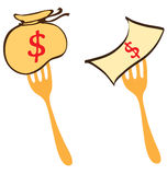 Competition food money business symbol for illustrate Royalty Free Stock Photos