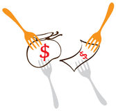 Competition food money business symbol for illustrate Royalty Free Stock Photography