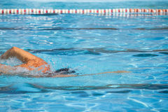 Competition front crawl race pool swimmer finish lane. An athlete trains in the pool lane race. swimmer swims parallel to the line of the lane of the pool Stock Photos