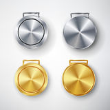 Competition Games Golden And Silver Medal Set Template Vector. Competition Games Golden, Chrome Medal Template. Realistic Circle G Royalty Free Stock Photography