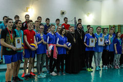 Competition in the Gomel region of Belarus in volleyball under the auspices of the Orthodox Church. Stock Image